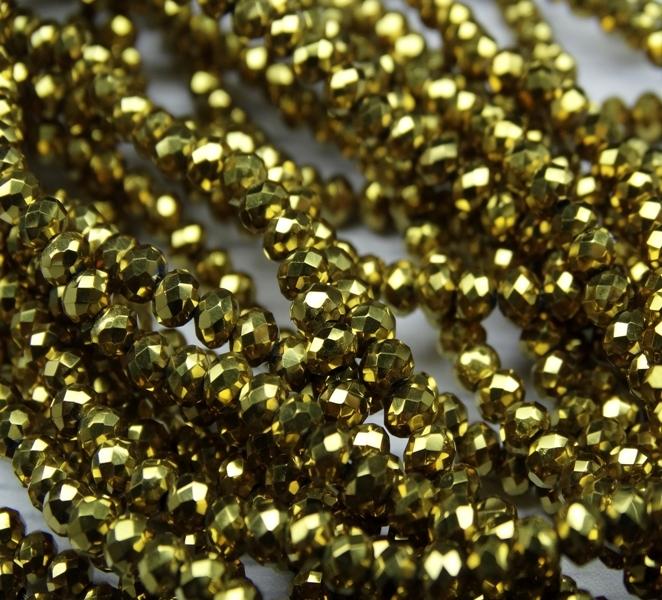 БЛ002НН23 Хрустальные бусины Золото металлик 2х3 мм, 70-75 шт.