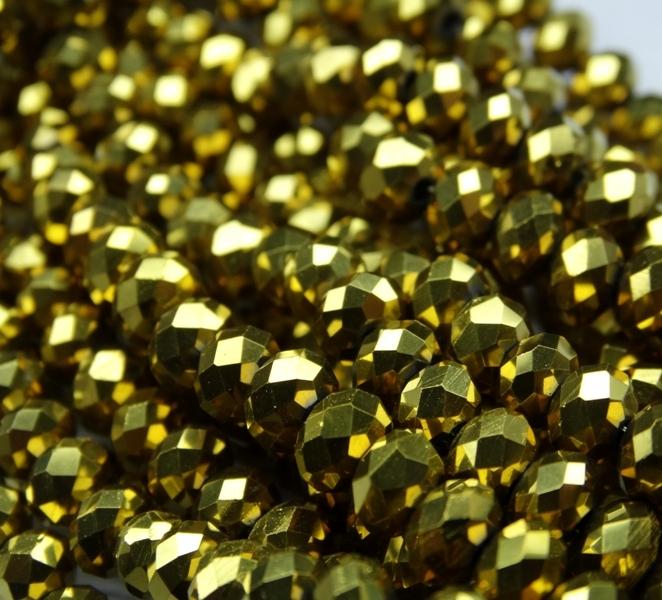 БЛ002НН46 Хрустальные бусины Золото металлик 4х6 мм, 45-50 шт.