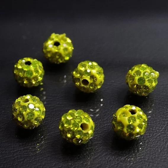 ДШ005НН8 Бусины из полимерной глины и хрустальных страз, цвет: желтый, 8 мм, 6 шт.