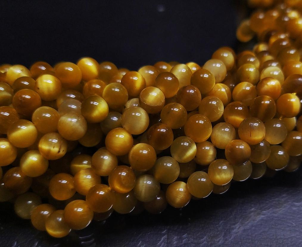 ПК015НН6 Бусины из природного камня Тигровый глаз (светлый) 6 мм, 10 шт/упак.