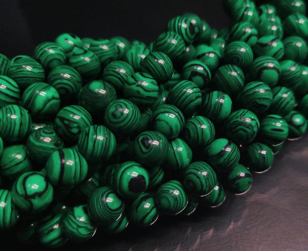 ПК016НН8 Бусины из природного камня Малахит 8 мм, 5 шт/упак.