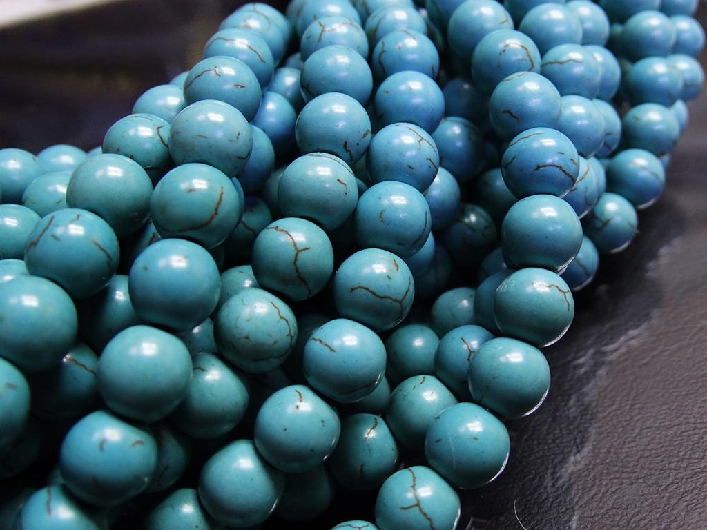 ПК001НН8 Бусины из природного камня Бирюза, 8 мм, 5 шт/упак.