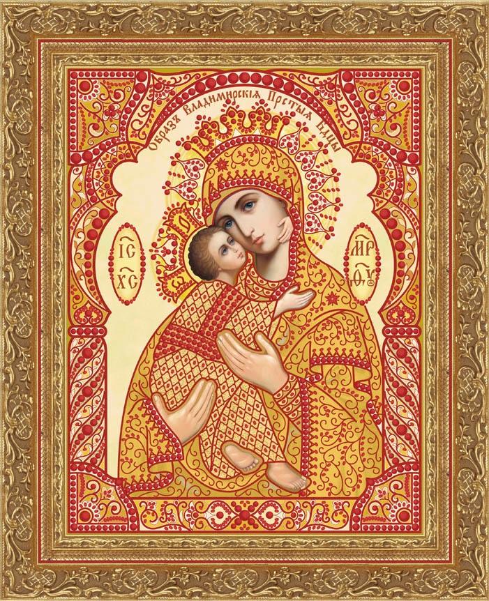Кружевная-002/3 Владимирская икона БМ (золотой, красный)