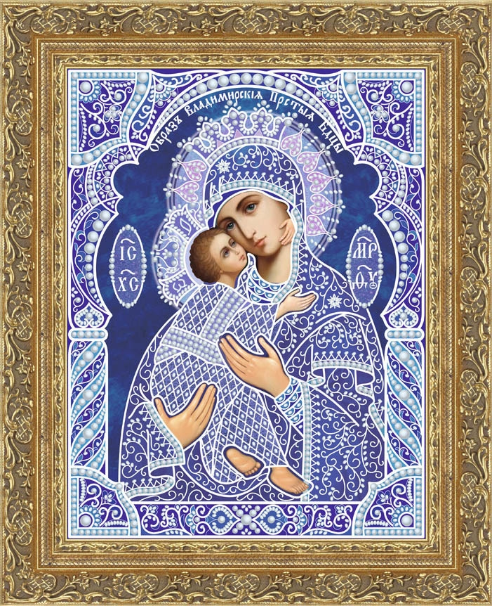 Кружевная-002/7 Владимирская икона БМ (тёмный синий, белый)