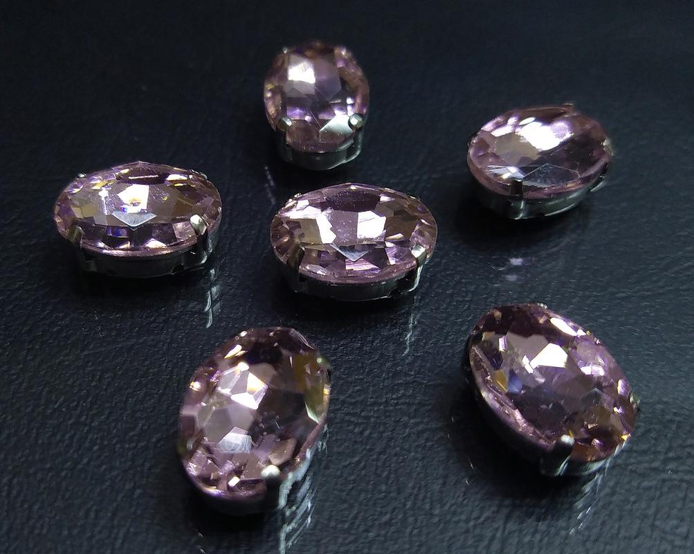 ОЦ007НН1014 Хрустальные стразы в цапах овальной формы, розовый 10х14 мм, 5 шт.