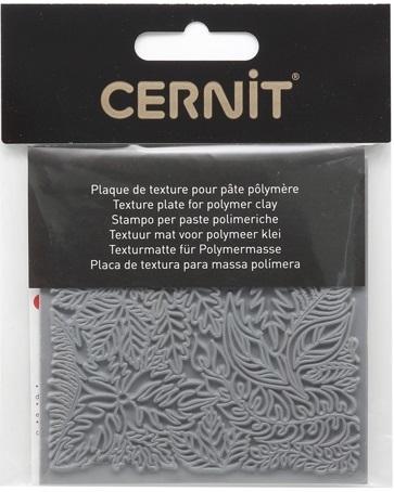 """CE95022 Текстура для пластики резиновая """"Листья"""", 9х9 см. Cernit"""