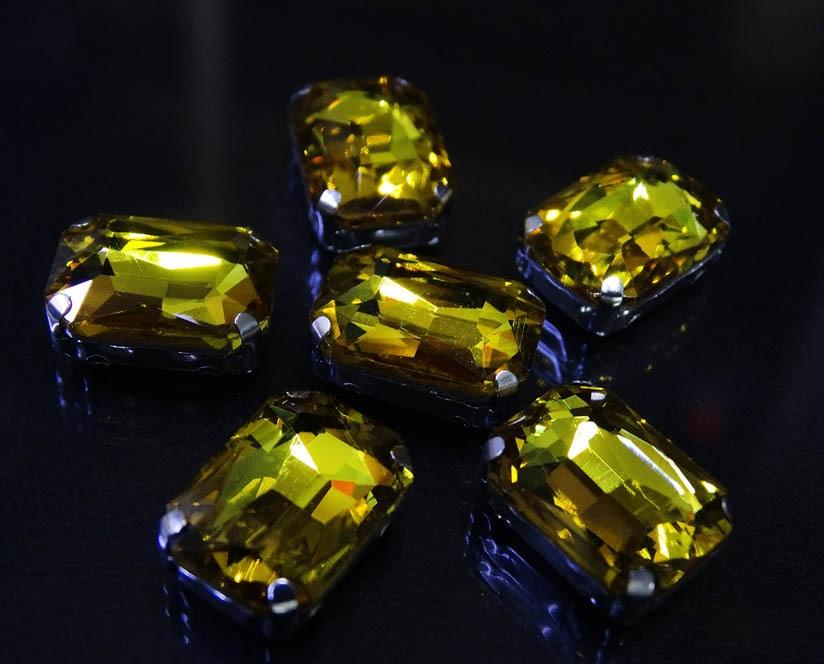 ПЦ002НН1014 Хрустальные стразы в металлических цапах (Серебро) Желтый 10х14 мм 5 шт/упак.