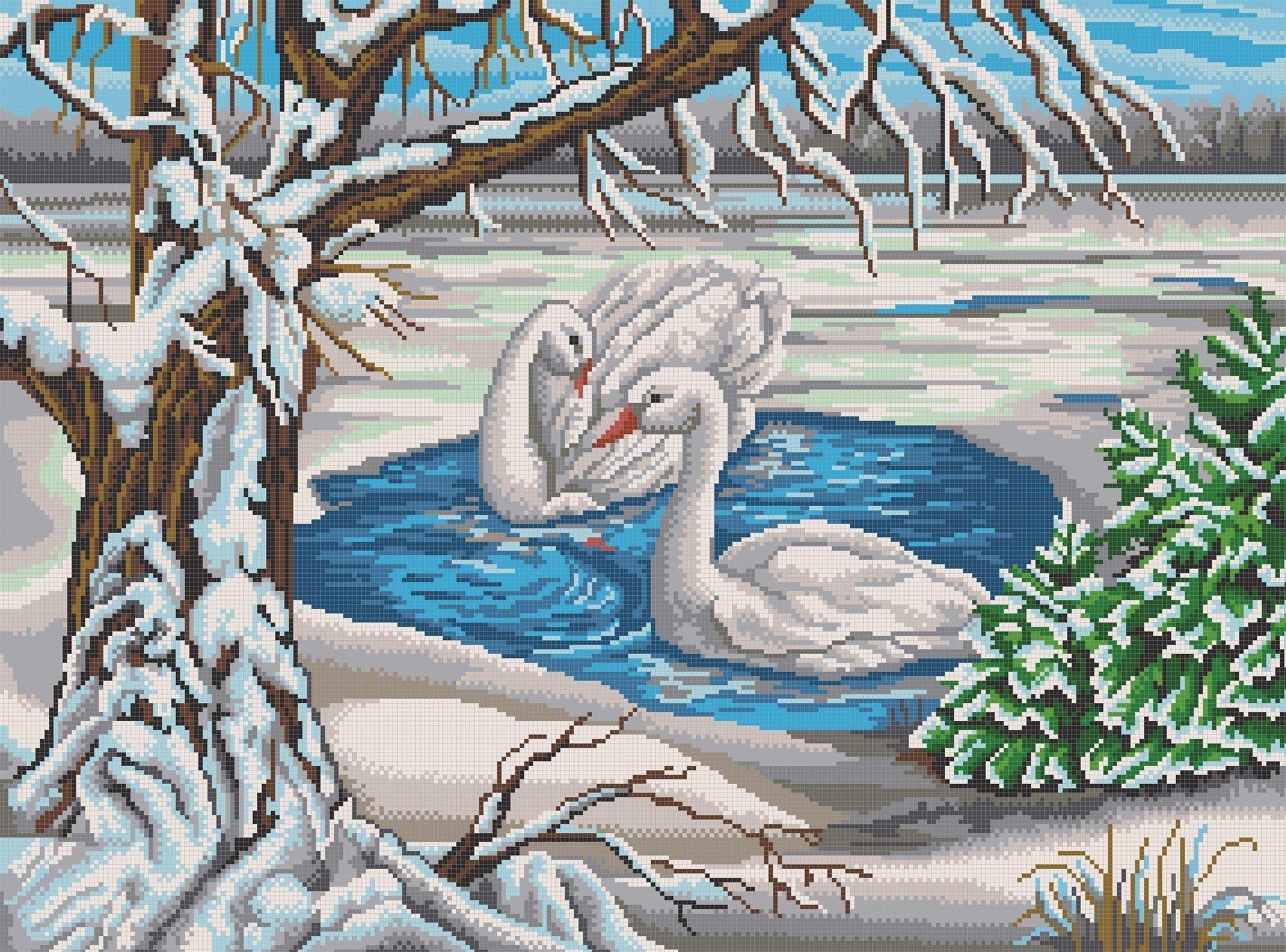 """НИК 7817 """"Лебеди на пруду"""" - схема для вышивания"""
