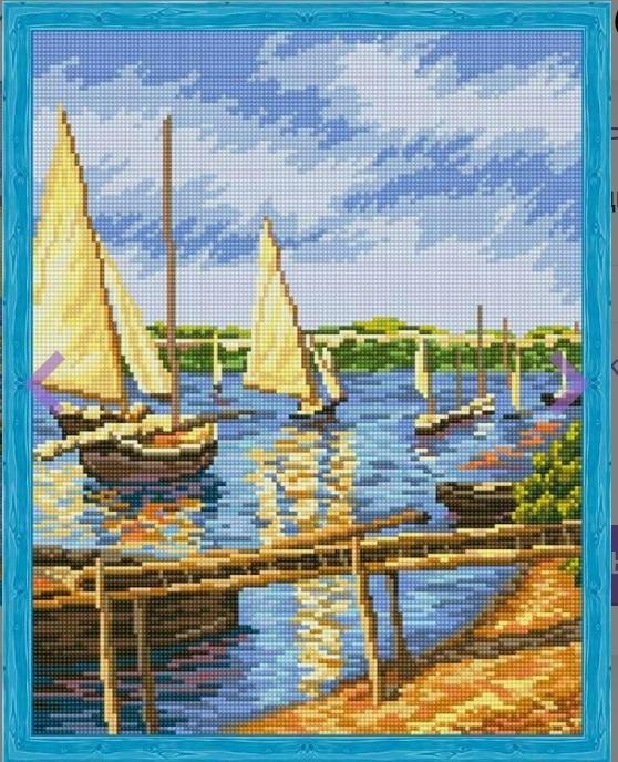 Алмазная вышивка qa202284 Парусные лодки