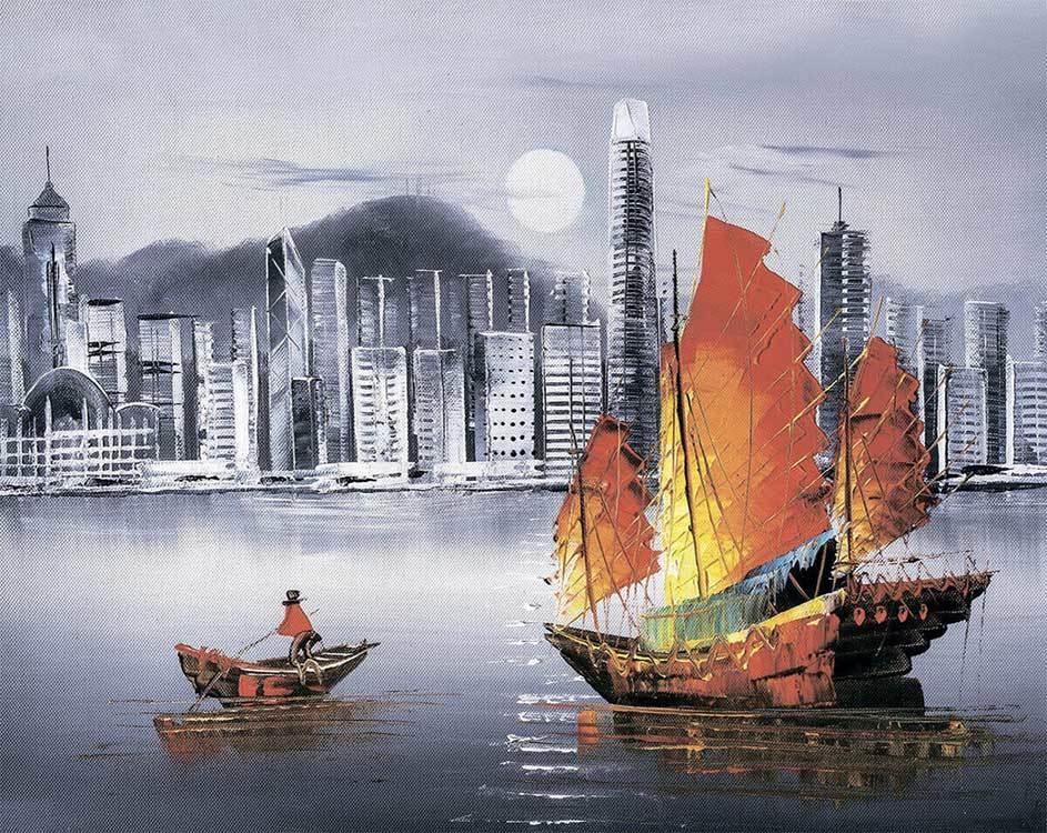 Алмазная вышивка lg253 Ночной Гонконг