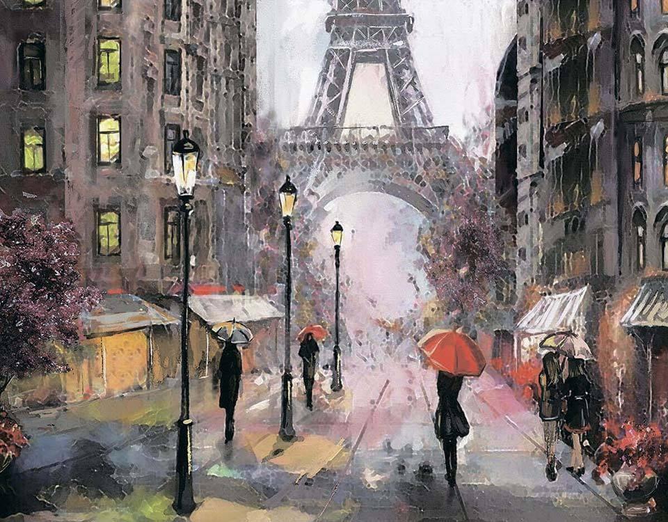 Алмазная вышивка lg249 Париж под дождем