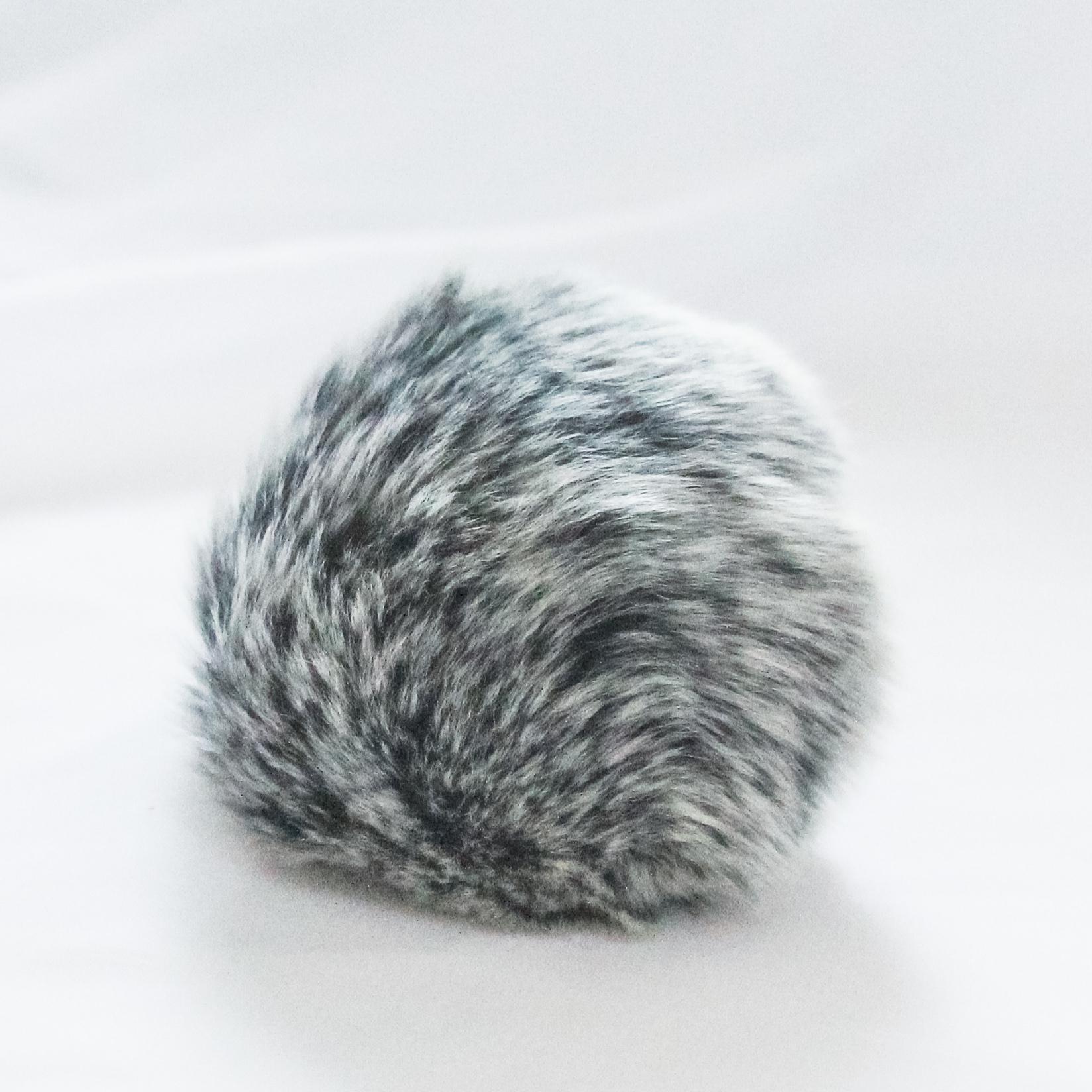 Помпон D6-9 мех кролик Цвет.04 Серебристо черный