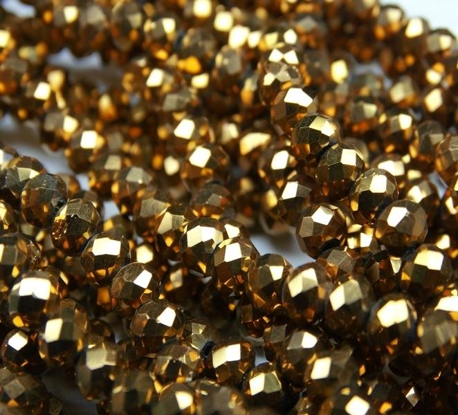 БЛ003НН34 Хрустальные бусины Коричневое золото металлик 3х4 мм, 70-75 шт.