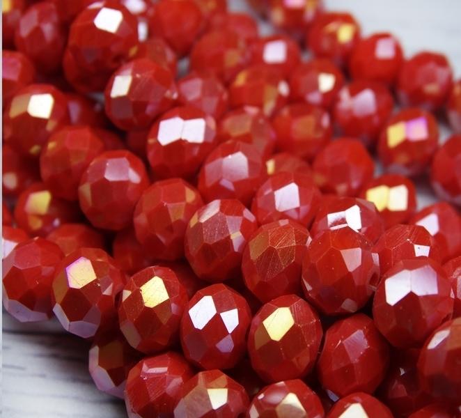 БН002ДС68 Хрустальные бусины Ярко-красный непрозрачный (с покрытием) 6х8 мм, 25 шт.