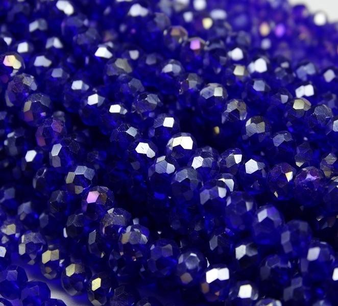БП019ДС34 Хрустальные бусины Синий прозрачный (с покрытием) 3х4 мм, 70-75 шт.