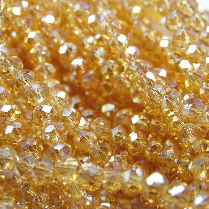 БП003ДС34 Хрустальные бусины Шампанское прозрачный (с покрытием) 3х4 мм, 70-75