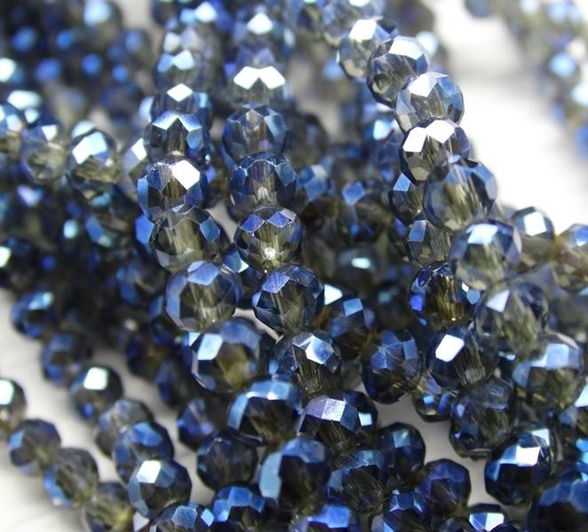 БП028ДН34 Хрустальные бусины Черный прозрачный (с синим покрытием) 3х4 мм, 70-75