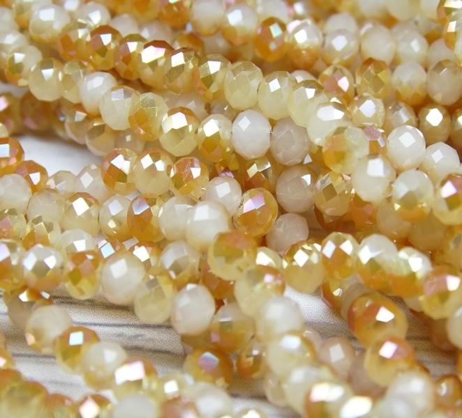 БЯ002ДН34 Хрустальные бусины Белый матовый (с коричневым покрытием) 3х4 мм, 70-75 шт.