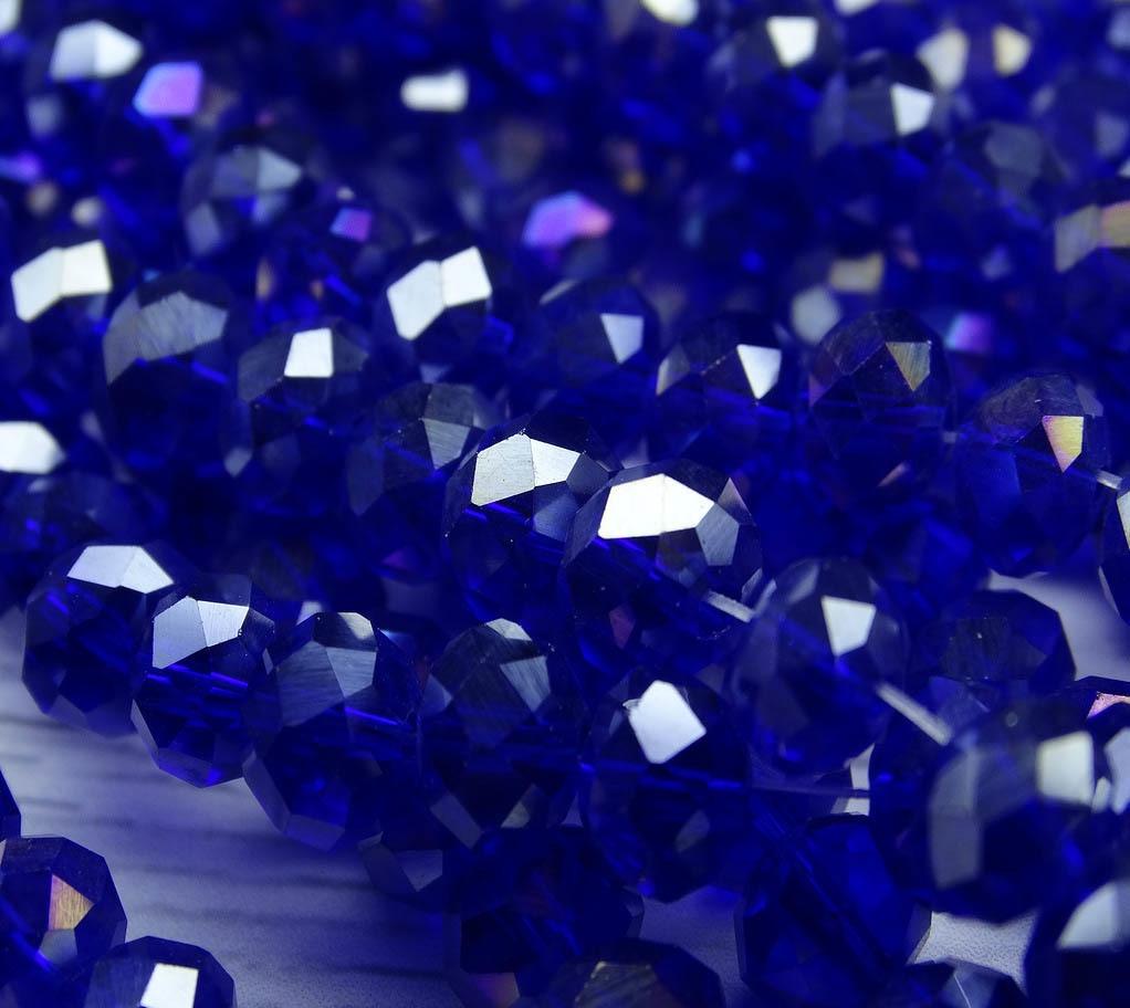 БП019НН68 Хрустальные бусины Синий прозрачный 6х8 мм, 25 шт.