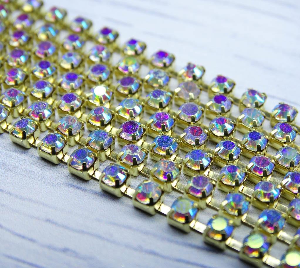 ЦС002ЗЦ3 Стразовые цепочки (золото), цвет: белый с AB покрытием, размер 3 мм, 30