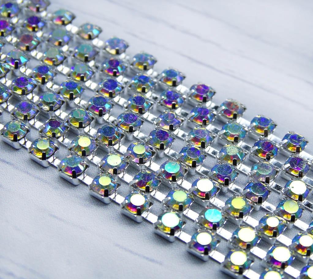 ЦС002СЦ3 Стразовые цепочки (серебро), цвет: белый с AB покрытием, размер 3 мм, 30