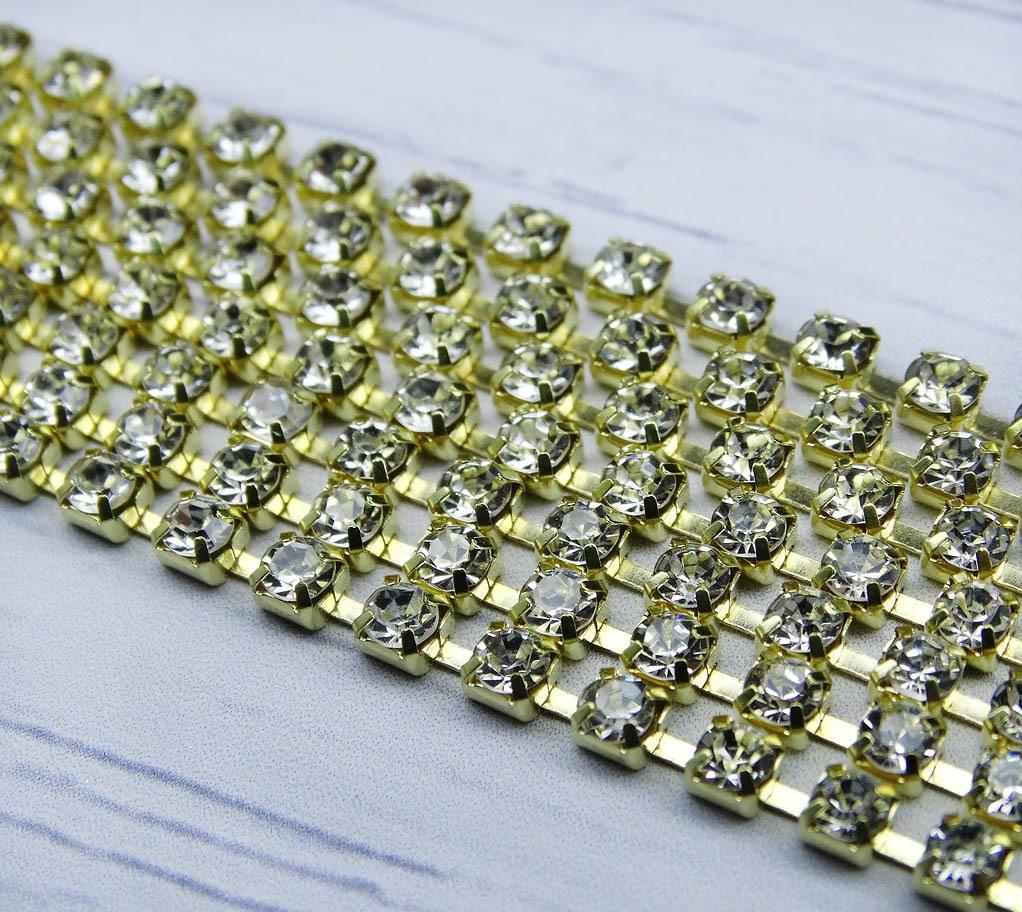 ЦС001ЗЦ2 Стразовые цепочки (золото), цвет: белый, размер 2 мм, 30 см/упак.
