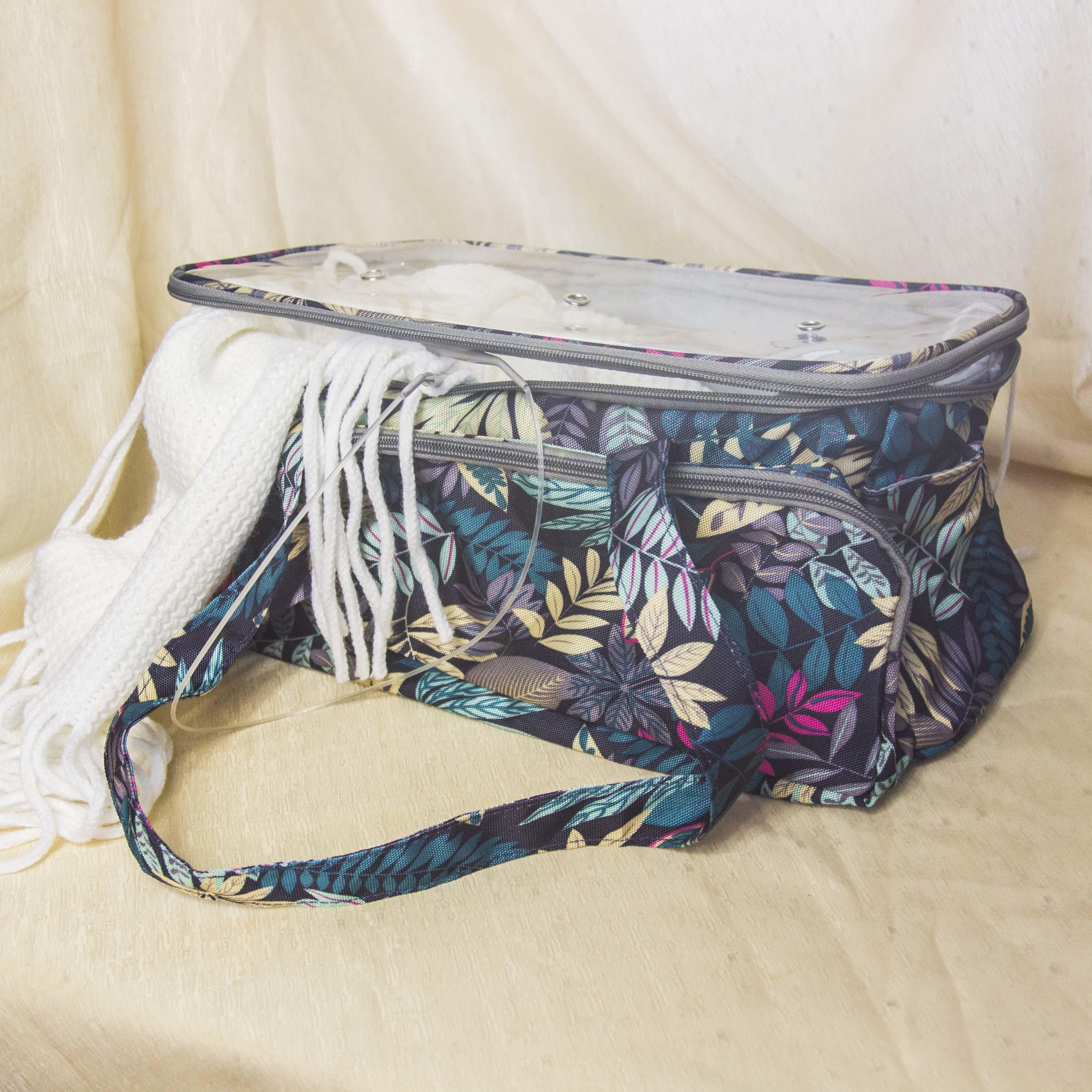 """10000053 Проектная сумка для вязания с прозрачной крышкой """"Flora green"""""""