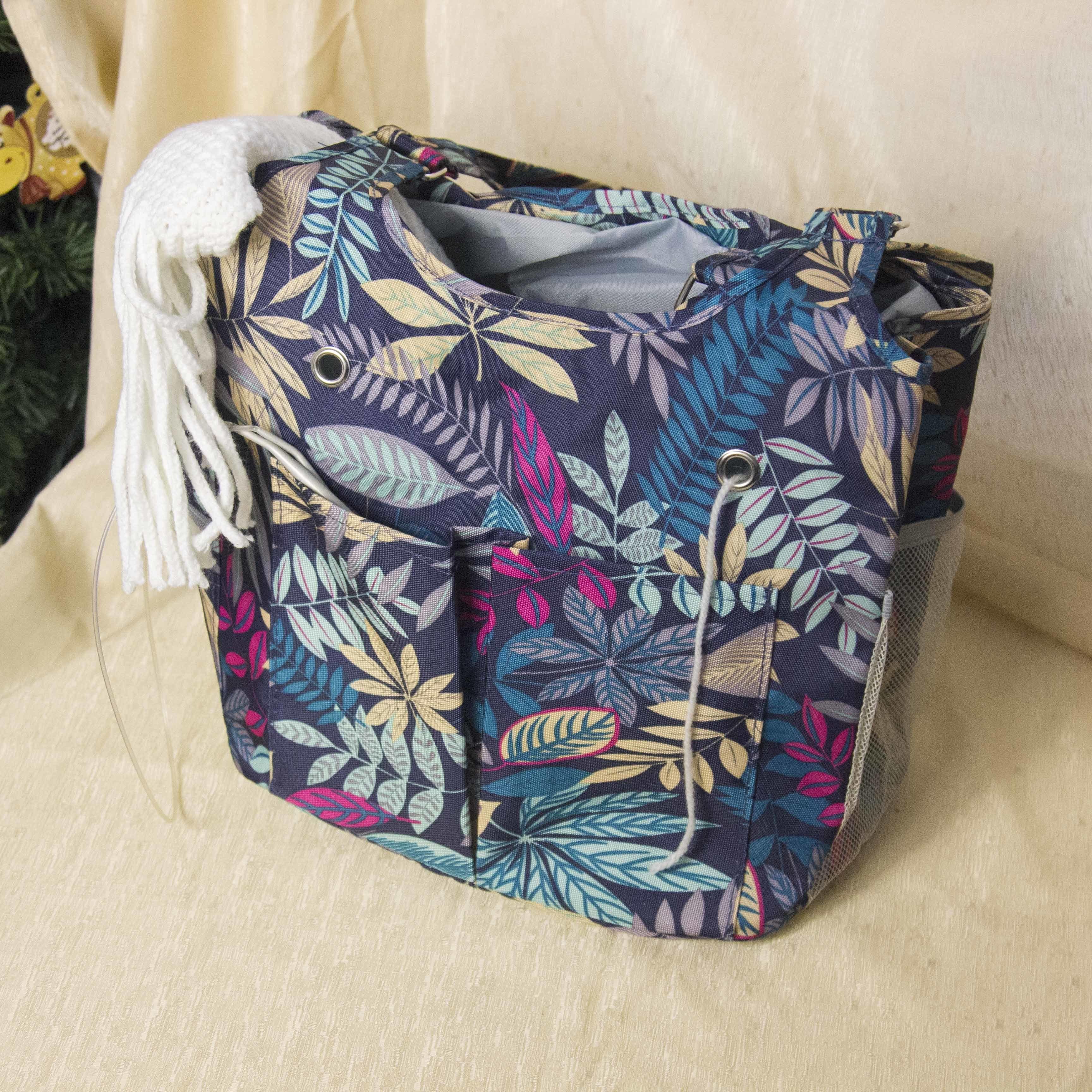 """10000054 Проектная сумка для вязания с затягивающимся клапаном """"Flora green"""""""