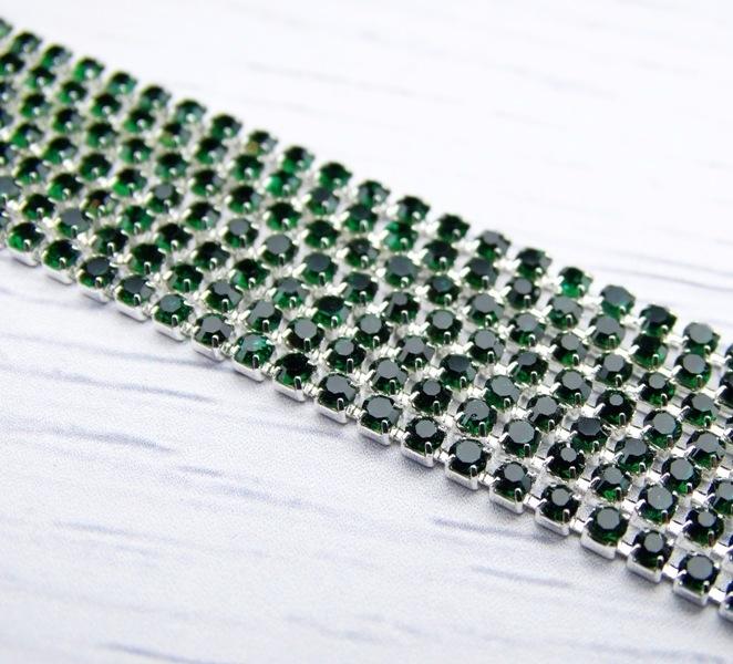 ЦС010СЦ2 Стразовые цепочки (серебро), цвет: изумрудный, размер 2 мм, 30 см/упак.