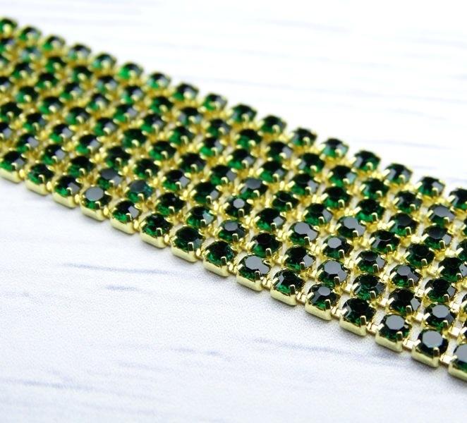 ЦС010ЗЦ2 Стразовые цепочки (золото), цвет: изумрудный, размер 2 мм, 30 см/упак.