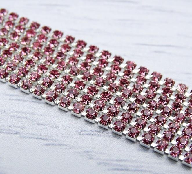 ЦС006СЦ2 Стразовые цепочки (серебро), цвет: розовый, размер 2 мм, 30 см/упак.