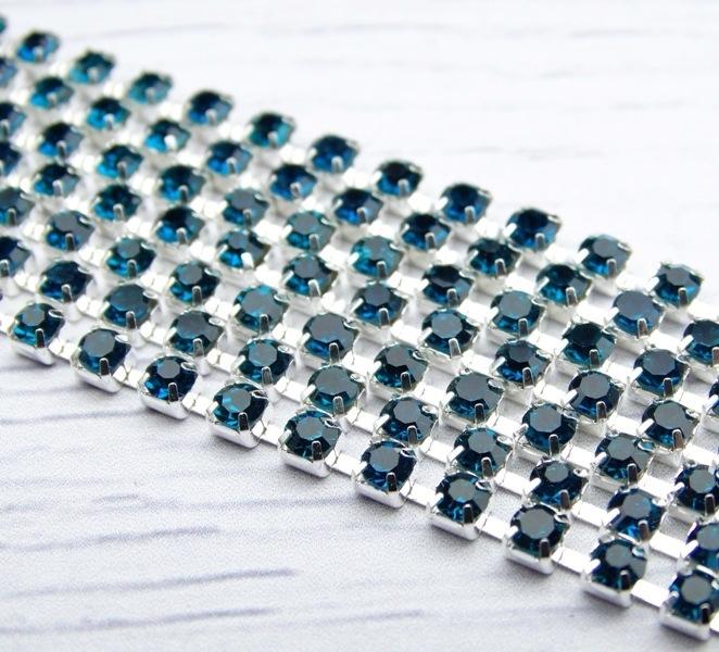 ЦС004СЦ3 Стразовые цепочки (серебро), цвет: лазурный, размер 3 мм, 30 см/упак.