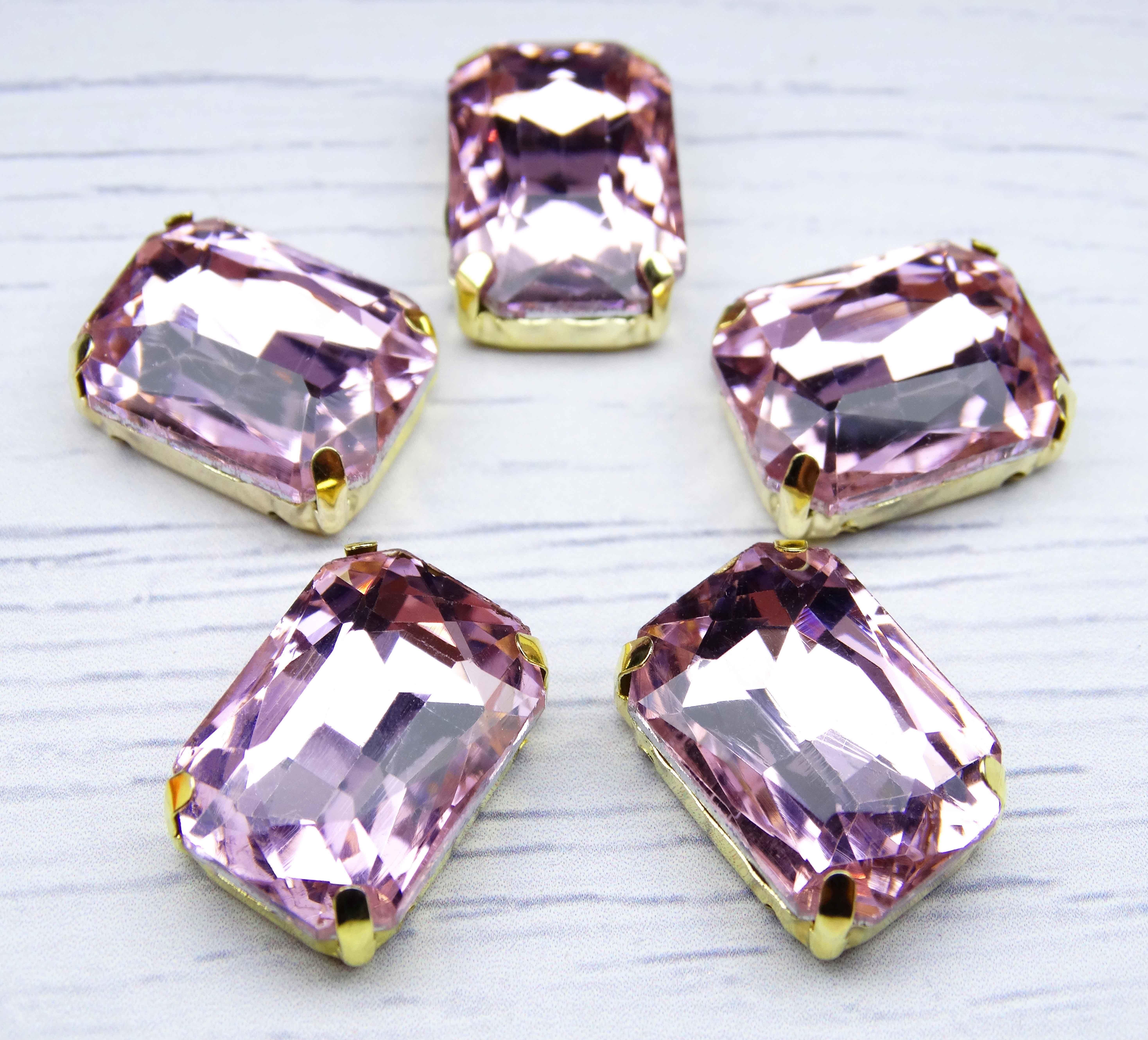 ПЦ005НН1318 Хрустальные стразы в металлических цапах (золото) Светло-розовый 13х18 мм 3 шт/упак.