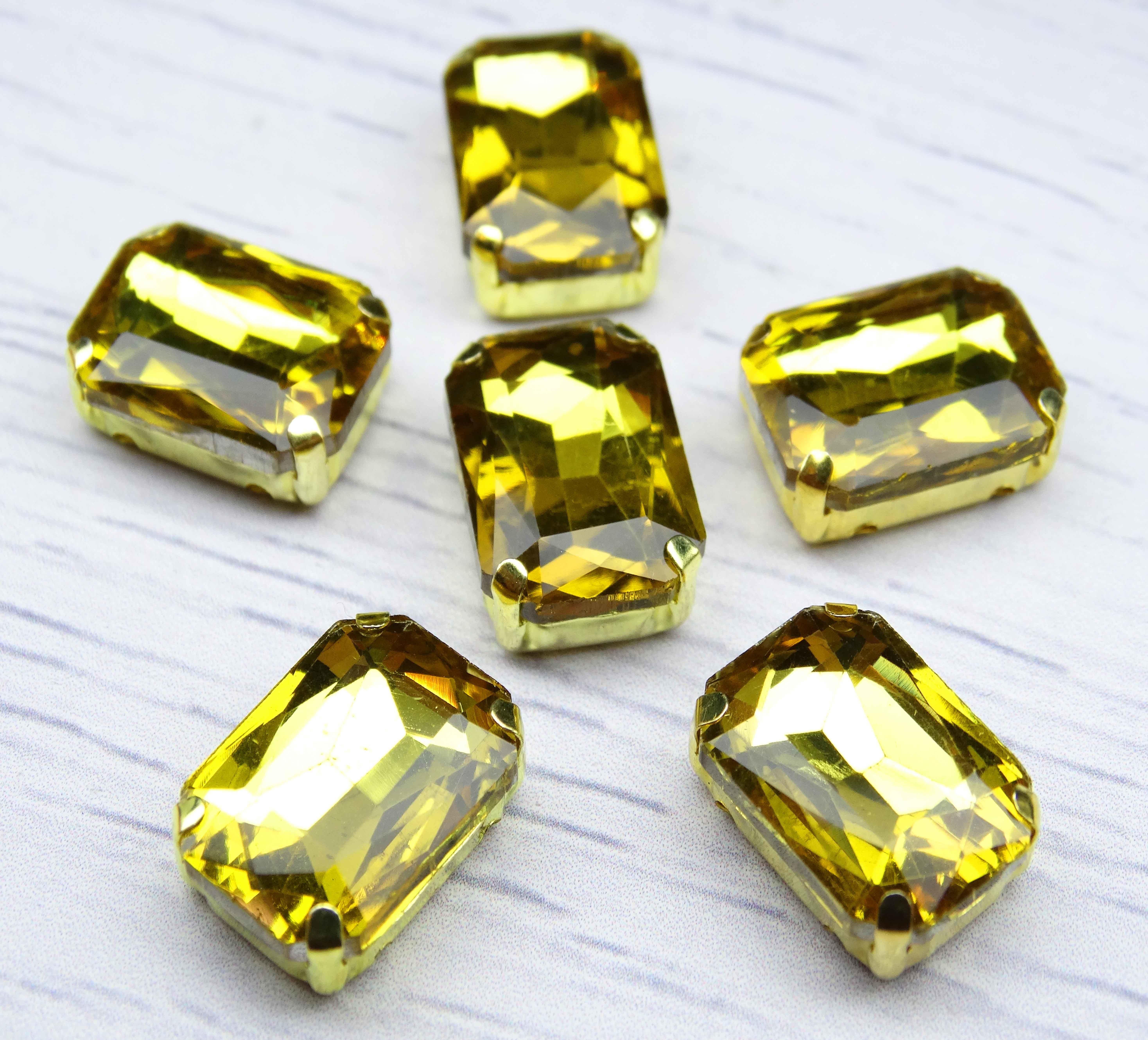 ПЦ002НН1014 Хрустальные стразы в металлических цапах (золото) Желтый 10х14 мм 5 шт/упак.