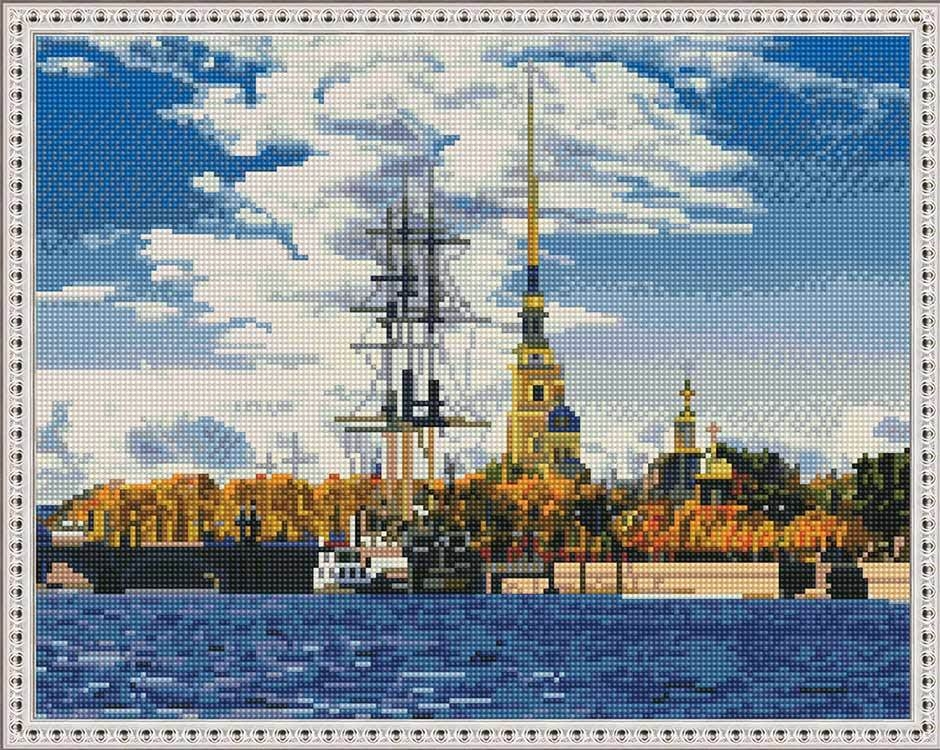 Алмазная вышивка KM0662 Санкт-Петербург. Петропавловская крепость