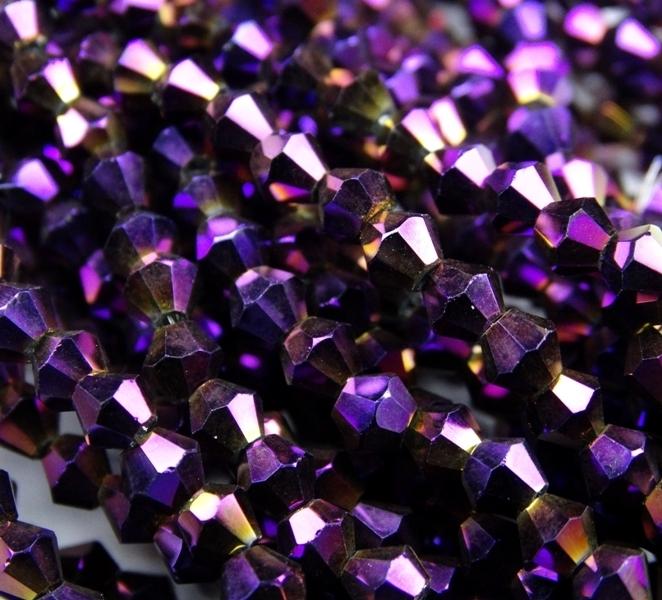 """ББЛ005НН3 Хрустальные бусины формы """"Биконус"""" Фиолетовый металлик 3 мм, 70-75 шт."""