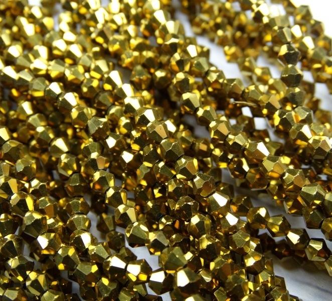 """ББЛ002НН4 Хрустальные бусины формы """"Биконус"""" Золото металлик 4 мм, 70-75 шт."""
