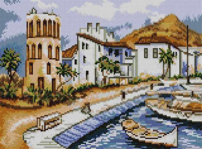 50064 Рыбацкая деревушка - мозаика Anya