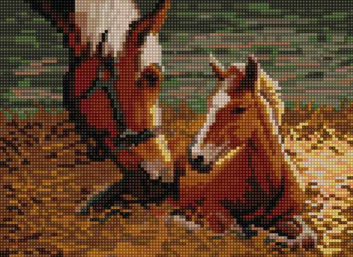 50081 Лошадь с жеребенком - мозаика Anya