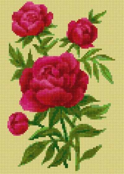 50120 Букет пионов (желтый фон) - мозаика Anya