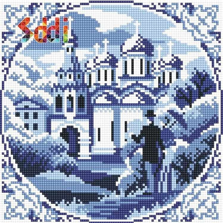 71080,03 Гжельский пейзаж - мозаика Anya