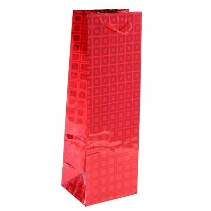 819957 Пакет голографический для бутылки, цвет красный