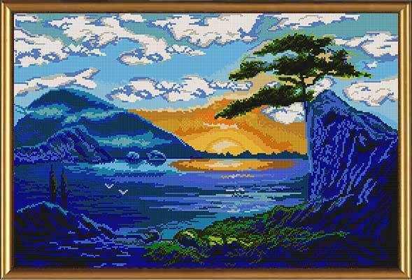 Бис 0066 Синий пейзаж (рисунок на ткани)