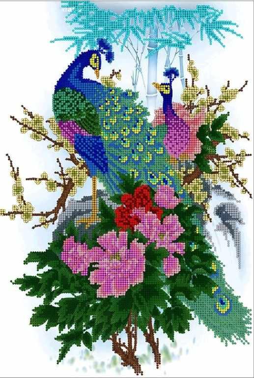 КМЧ-3391 Павлины в цветах - схема (Мастерица)