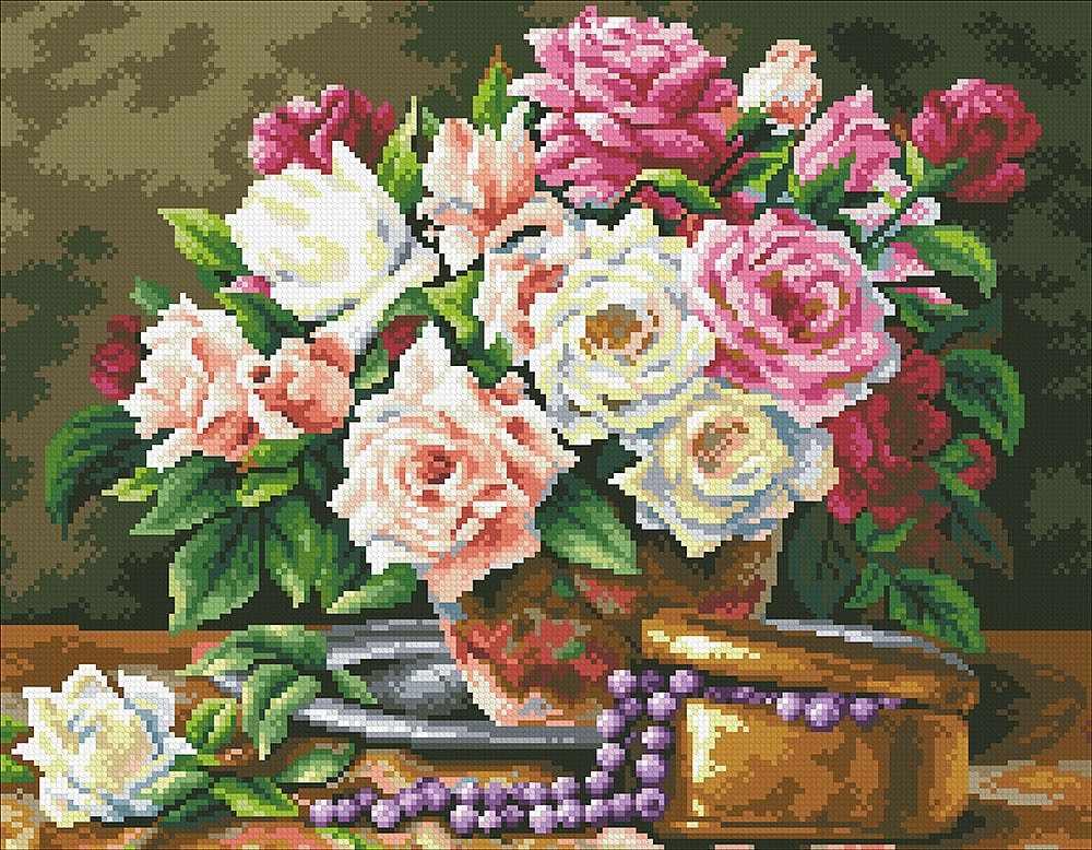 М250 Розовый букет и бусины - мозаика (Паутинка)