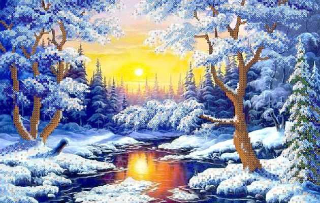 РКП-178 Зимний лес - схема для вышивания (Марiчка)