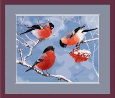 1НКЦ-011 Снегири-набор - Наборы для вышивания «Художественные мастерские»