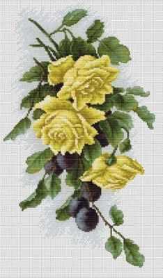 Набор для вышивания Luca-S B2230 Желтые розы со сливами