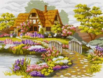 1060-14 Мостик в цветах (Белоснежка) - Наборы для вышивания «Белоснежка»
