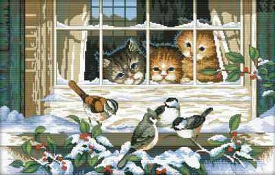 2337-14 Кошачий интерес (Белоснежка) - Наборы для вышивания «Белоснежка»